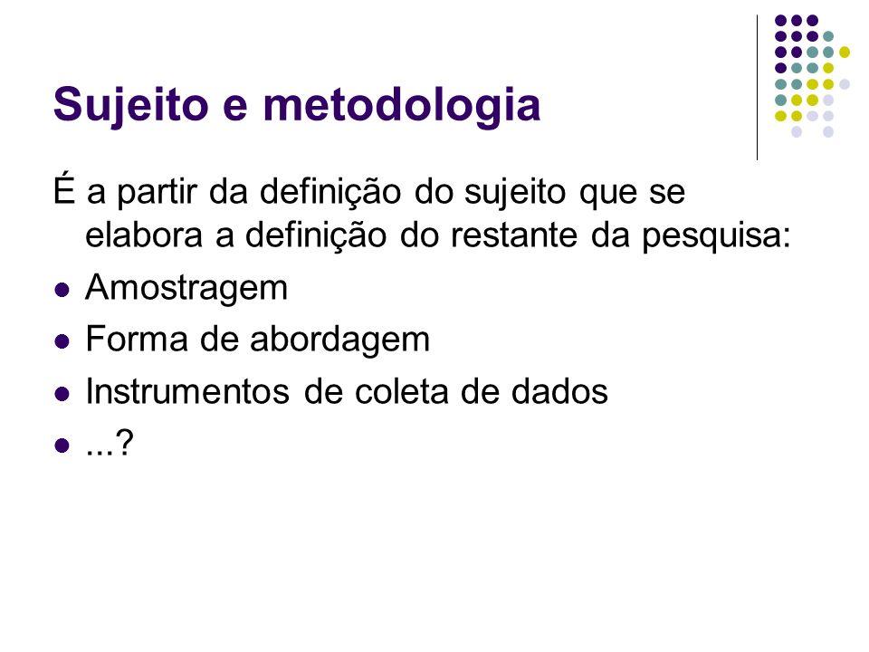 Sujeito e metodologia É a partir da definição do sujeito que se elabora a definição do restante da pesquisa: Amostragem Forma de abordagem Instrumento