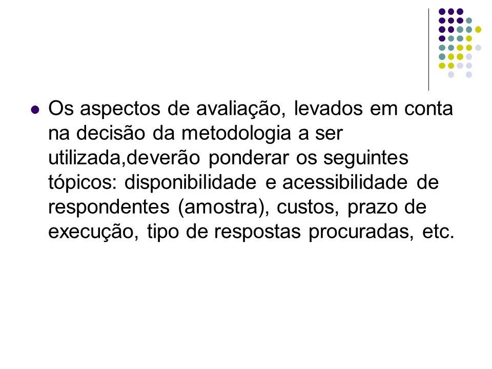 Os aspectos de avaliação, levados em conta na decisão da metodologia a ser utilizada,deverão ponderar os seguintes tópicos: disponibilidade e acessibi