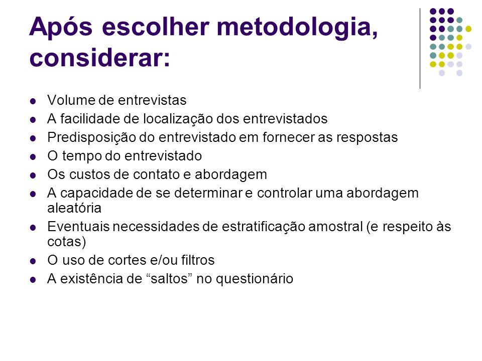 Após escolher metodologia, considerar: Volume de entrevistas A facilidade de localização dos entrevistados Predisposição do entrevistado em fornecer a