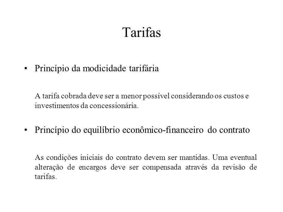 Tarifas Princípio da modicidade tarifária A tarifa cobrada deve ser a menor possível considerando os custos e investimentos da concessionária. Princíp