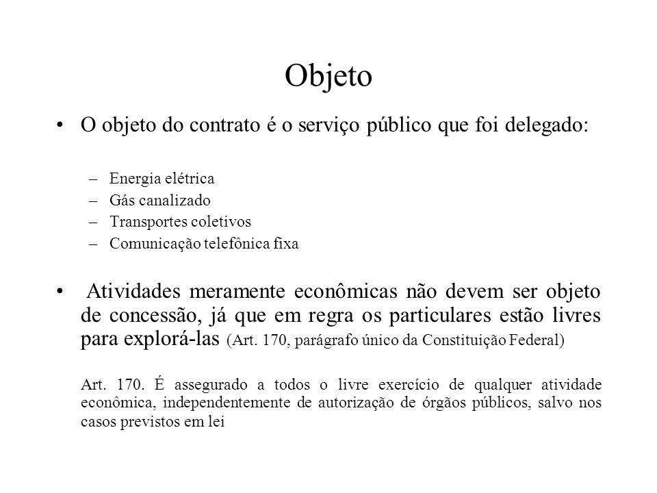 Objeto O objeto do contrato é o serviço público que foi delegado: –Energia elétrica –Gás canalizado –Transportes coletivos –Comunicação telefônica fix