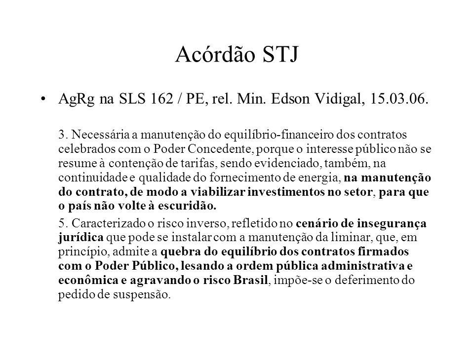 Acórdão STJ AgRg na SLS 162 / PE, rel. Min. Edson Vidigal, 15.03.06. 3. Necessária a manutenção do equilíbrio-financeiro dos contratos celebrados com