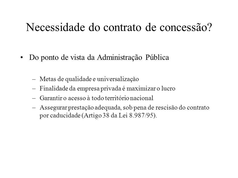 Necessidade do contrato de concessão? Do ponto de vista da Administração Pública –Metas de qualidade e universalização –Finalidade da empresa privada