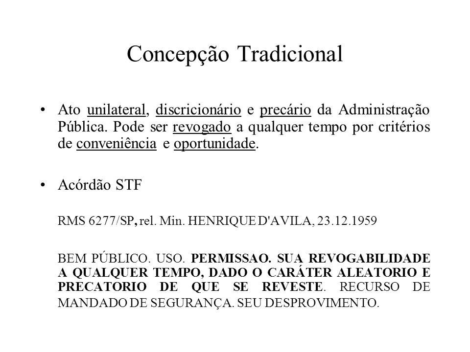 Concepção Tradicional Ato unilateral, discricionário e precário da Administração Pública. Pode ser revogado a qualquer tempo por critérios de conveniê