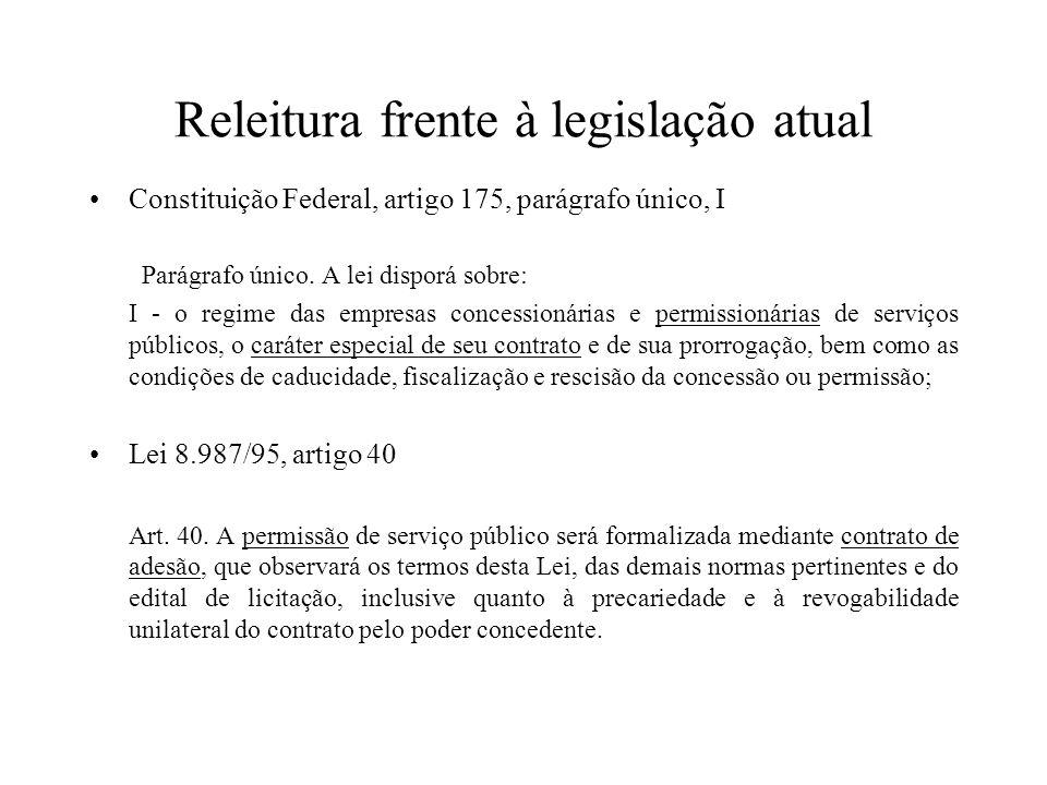 Releitura frente à legislação atual Constituição Federal, artigo 175, parágrafo único, I Parágrafo único. A lei disporá sobre: I - o regime das empres