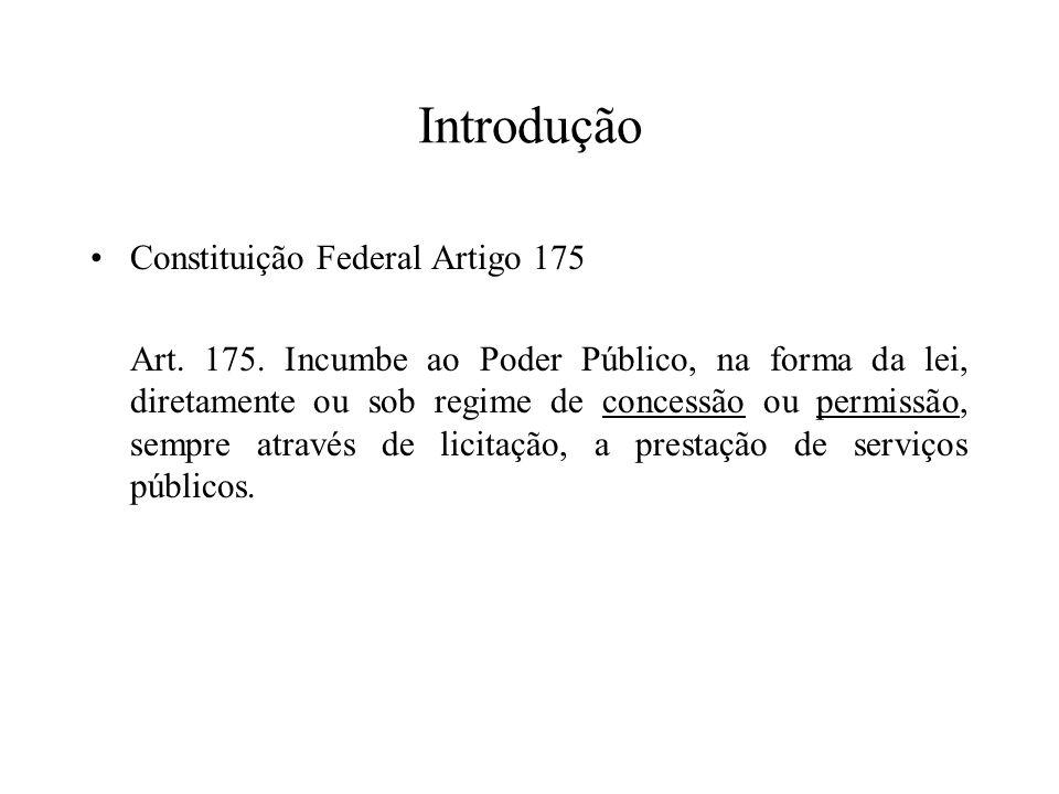 Introdução Constituição Federal Artigo 175 Art. 175. Incumbe ao Poder Público, na forma da lei, diretamente ou sob regime de concessão ou permissão, s