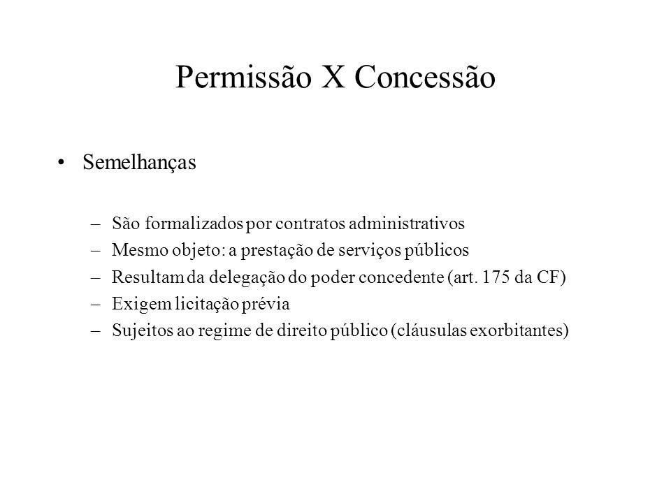 Permissão X Concessão Semelhanças –São formalizados por contratos administrativos –Mesmo objeto: a prestação de serviços públicos –Resultam da delegaç
