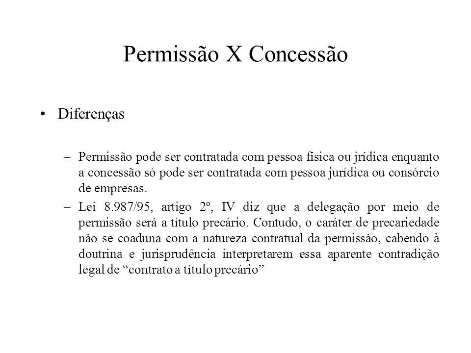 Permissão X Concessão Diferenças –Permissão pode ser contratada com pessoa física ou jrídica enquanto a concessão só pode ser contratada com pessoa ju