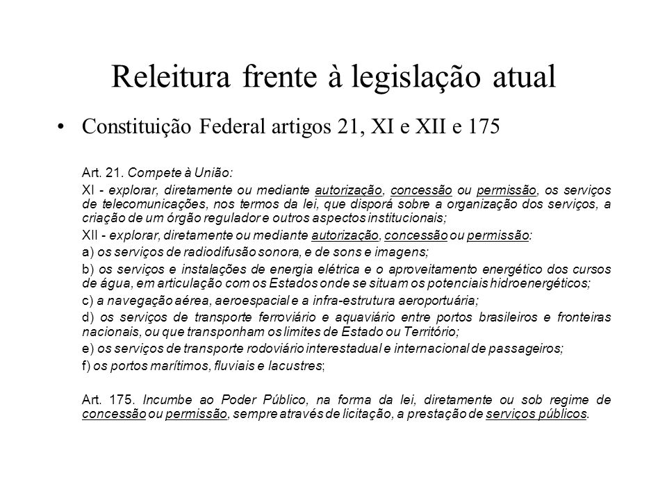Releitura frente à legislação atual Constituição Federal artigos 21, XI e XII e 175 Art. 21. Compete à União: XI - explorar, diretamente ou mediante a