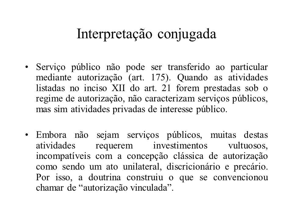 Interpretação conjugada Serviço público não pode ser transferido ao particular mediante autorização (art. 175). Quando as atividades listadas no incis