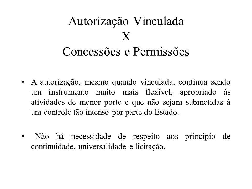Autorização Vinculada X Concessões e Permissões A autorização, mesmo quando vinculada, continua sendo um instrumento muito mais flexível, apropriado à