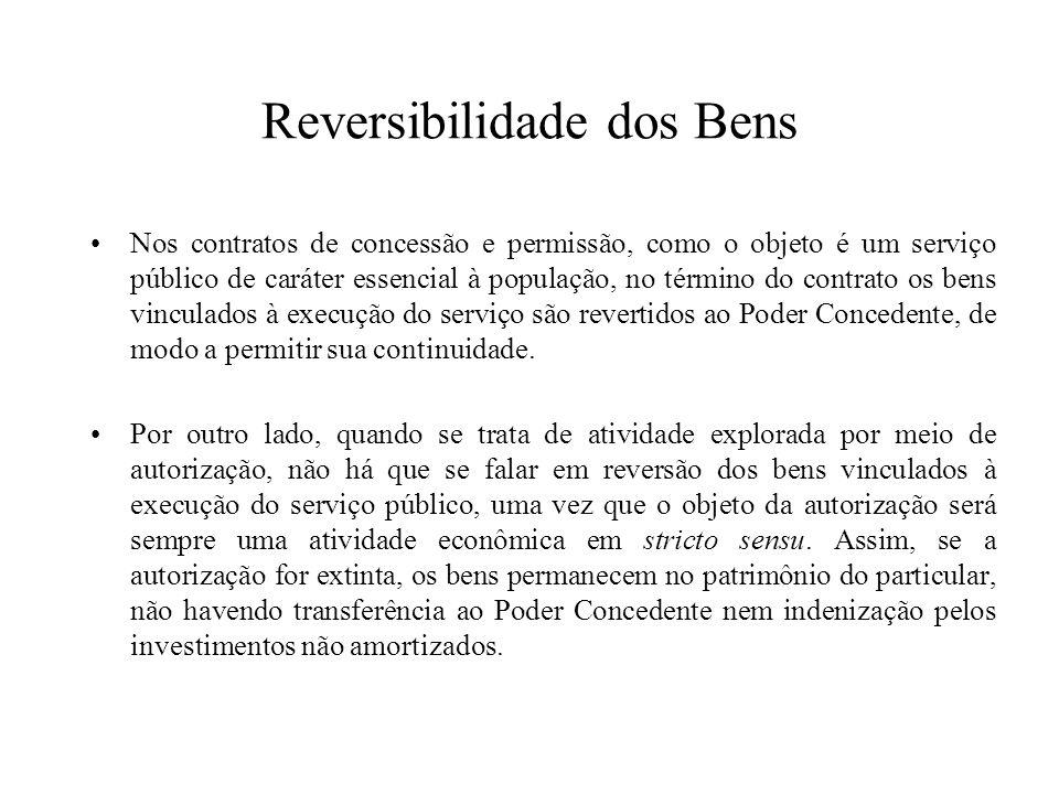 Reversibilidade dos Bens Nos contratos de concessão e permissão, como o objeto é um serviço público de caráter essencial à população, no término do co