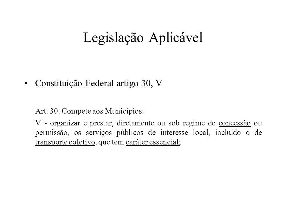 Legislação Aplicável Constituição Federal artigo 30, V Art. 30. Compete aos Municípios: V - organizar e prestar, diretamente ou sob regime de concessã