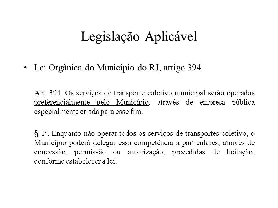 Legislação Aplicável Lei Orgânica do Município do RJ, artigo 394 Art. 394. Os serviços de transporte coletivo municipal serão operados preferencialmen