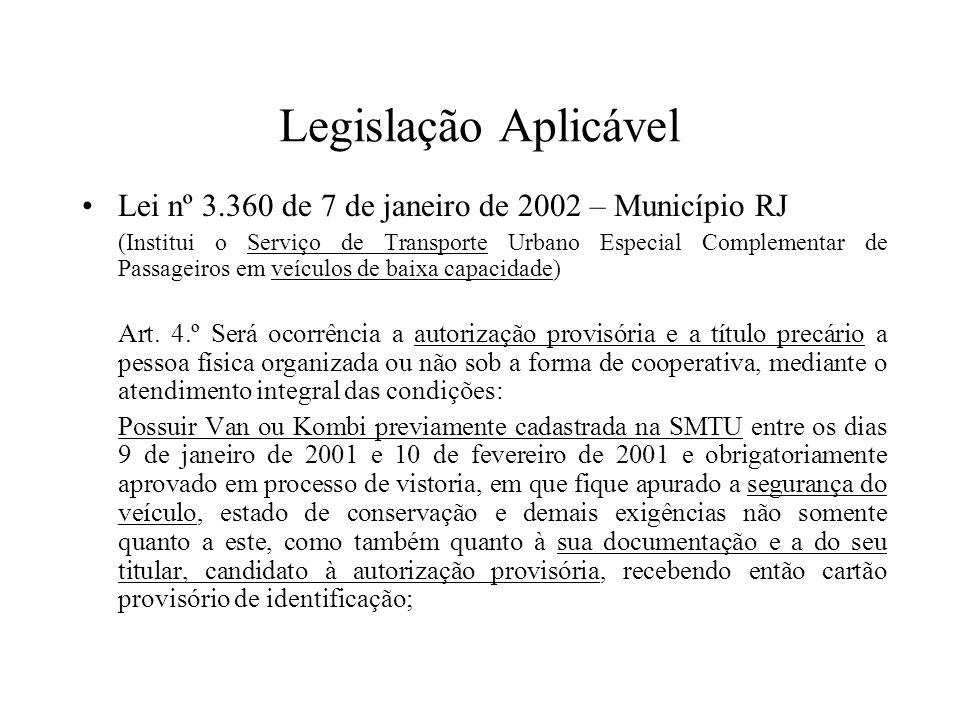 Legislação Aplicável Lei nº 3.360 de 7 de janeiro de 2002 – Município RJ (Institui o Serviço de Transporte Urbano Especial Complementar de Passageiros