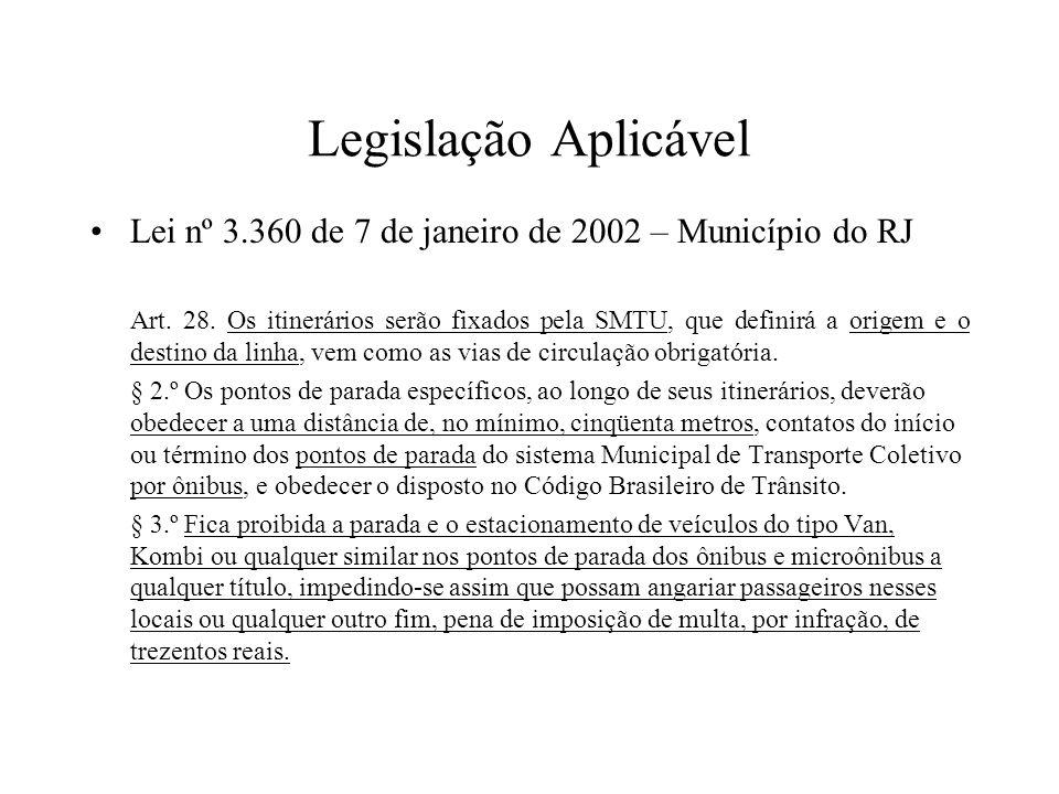 Legislação Aplicável Lei nº 3.360 de 7 de janeiro de 2002 – Município do RJ Art. 28. Os itinerários serão fixados pela SMTU, que definirá a origem e o