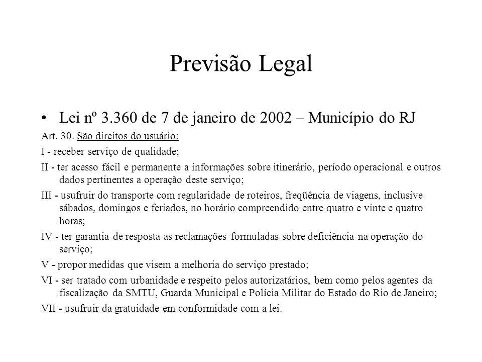 Previsão Legal Lei nº 3.360 de 7 de janeiro de 2002 – Município do RJ Art. 30. São direitos do usuário: I - receber serviço de qualidade; II - ter ace