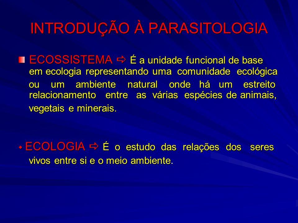 INTRODUÇÃO À PARASITOLOGIA ECOSSISTEMA É a unidade funcional de base em ecologia representando uma comunidade ecológica ou um ambiente natural onde há