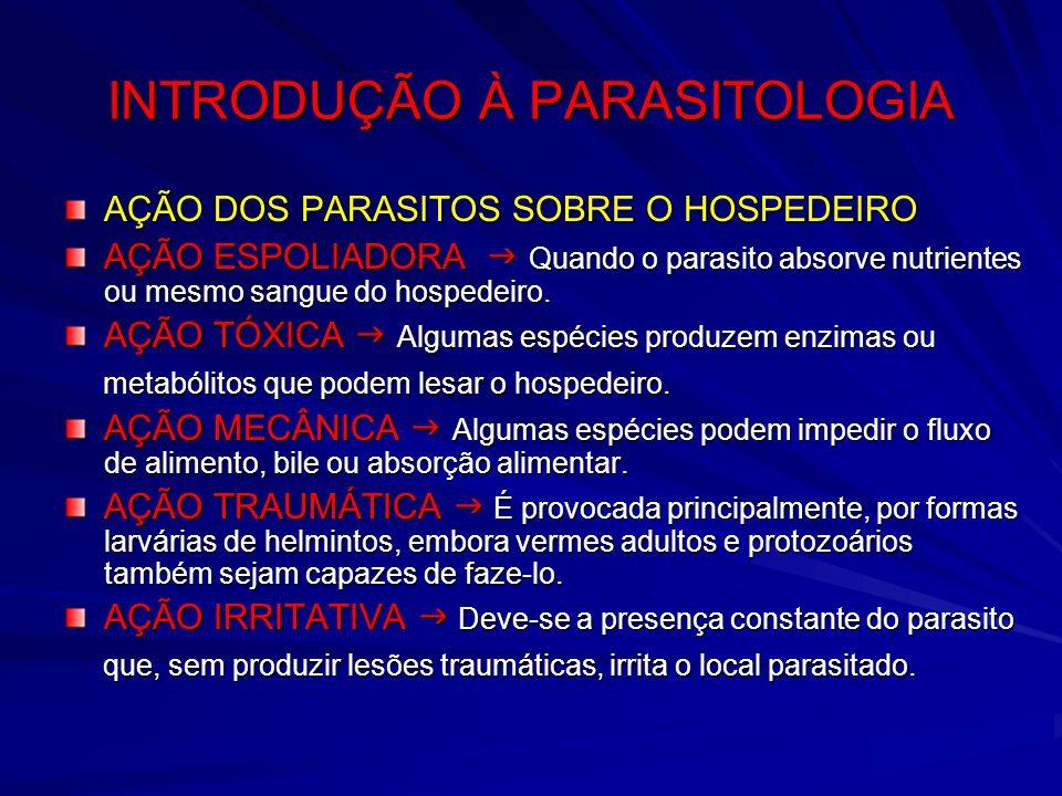 INTRODUÇÃO À PARASITOLOGIA AÇÃO DOS PARASITOS SOBRE O HOSPEDEIRO AÇÃO ESPOLIADORA Quando o parasito absorve nutrientes ou mesmo sangue do hospedeiro.