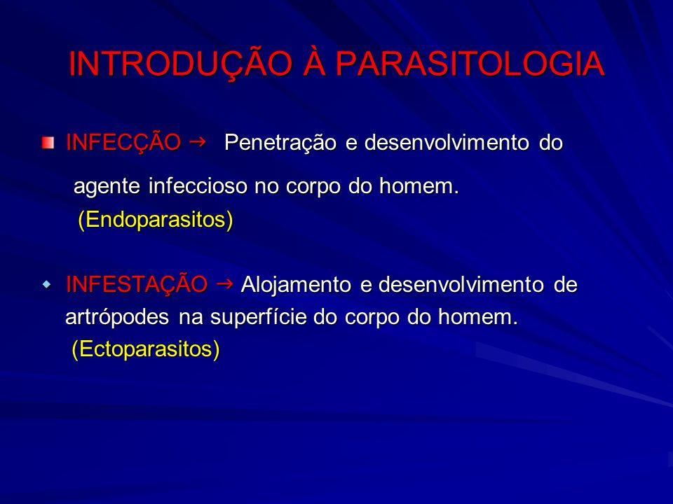 INTRODUÇÃO À PARASITOLOGIA INFECÇÃO Penetração e desenvolvimento do agente infeccioso no corpo do homem. agente infeccioso no corpo do homem. (Endopar