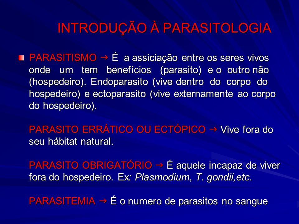 INTRODUÇÃO À PARASITOLOGIA PARASITISMO É a assiciação entre os seres vivos onde um tem benefícios (parasito) e o outro não onde um tem benefícios (par