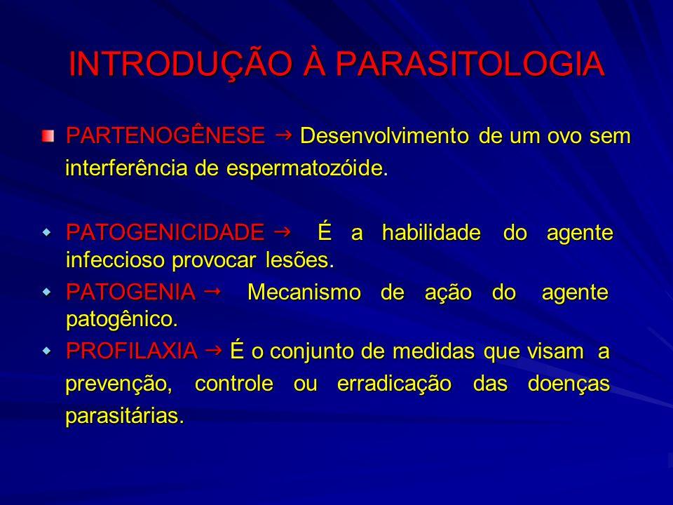 INTRODUÇÃO À PARASITOLOGIA PARTENOGÊNESE Desenvolvimento de um ovo sem interferência de espermatozóide. interferência de espermatozóide. PATOGENICIDAD