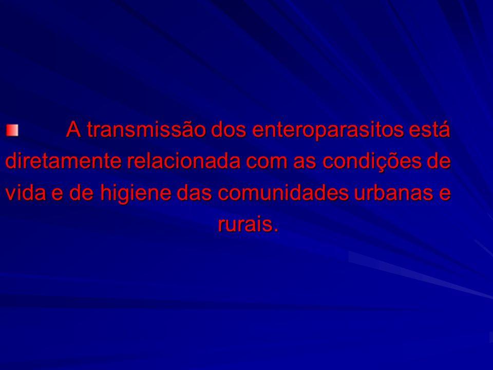 A transmissão dos enteroparasitos está A transmissão dos enteroparasitos está diretamente relacionada com as condições de vida e de higiene das comuni