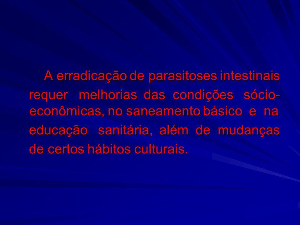 A erradicação de parasitoses intestinais A erradicação de parasitoses intestinais requer melhorias das condições sócio- econômicas, no saneamento bási