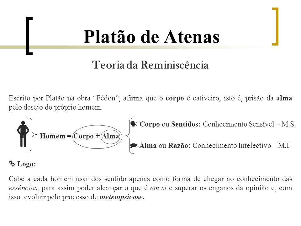 Platão de Atenas Teoria da Reminiscência Escrito por Platão na obra Fédon, afirma que o corpo é cativeiro, isto é, prisão da alma pelo desejo do próprio homem.