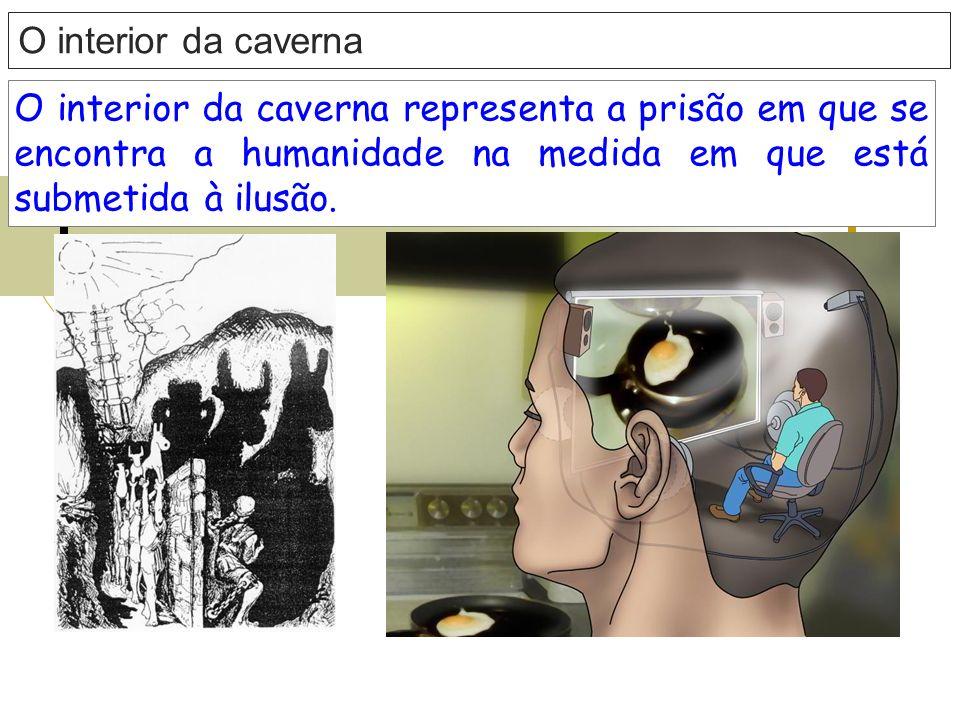 O interior da caverna O interior da caverna representa a prisão em que se encontra a humanidade na medida em que está submetida à ilusão.