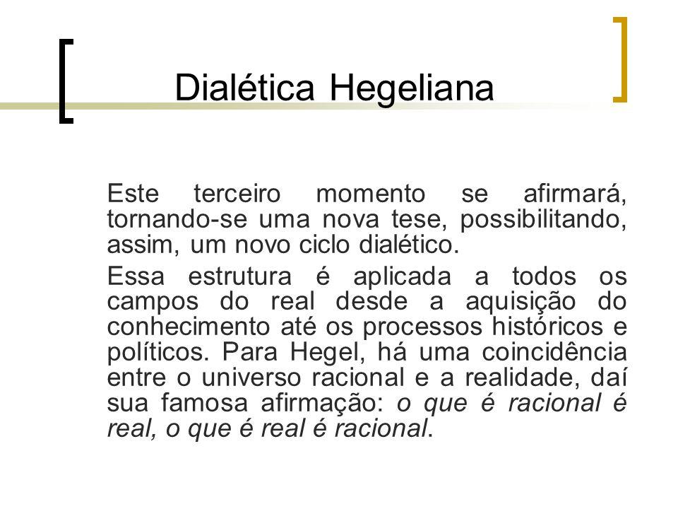 Dialética Hegeliana Este terceiro momento se afirmará, tornando-se uma nova tese, possibilitando, assim, um novo ciclo dialético.