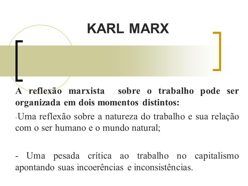 KARL MARX A reflexão marxista sobre o trabalho pode ser organizada em dois momentos distintos: - Uma reflexão sobre a natureza do trabalho e sua relação com o ser humano e o mundo natural; - Uma pesada crítica ao trabalho no capitalismo apontando suas incoerências e inconsistências.