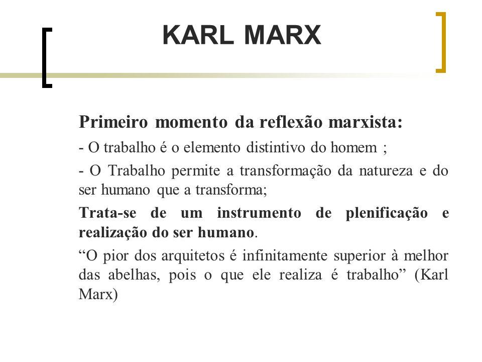 KARL MARX Primeiro momento da reflexão marxista: - O trabalho é o elemento distintivo do homem ; - O Trabalho permite a transformação da natureza e do ser humano que a transforma; Trata-se de um instrumento de plenificação e realização do ser humano.