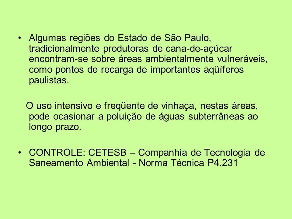 Algumas regiões do Estado de São Paulo, tradicionalmente produtoras de cana-de-açúcar encontram-se sobre áreas ambientalmente vulneráveis, como pontos