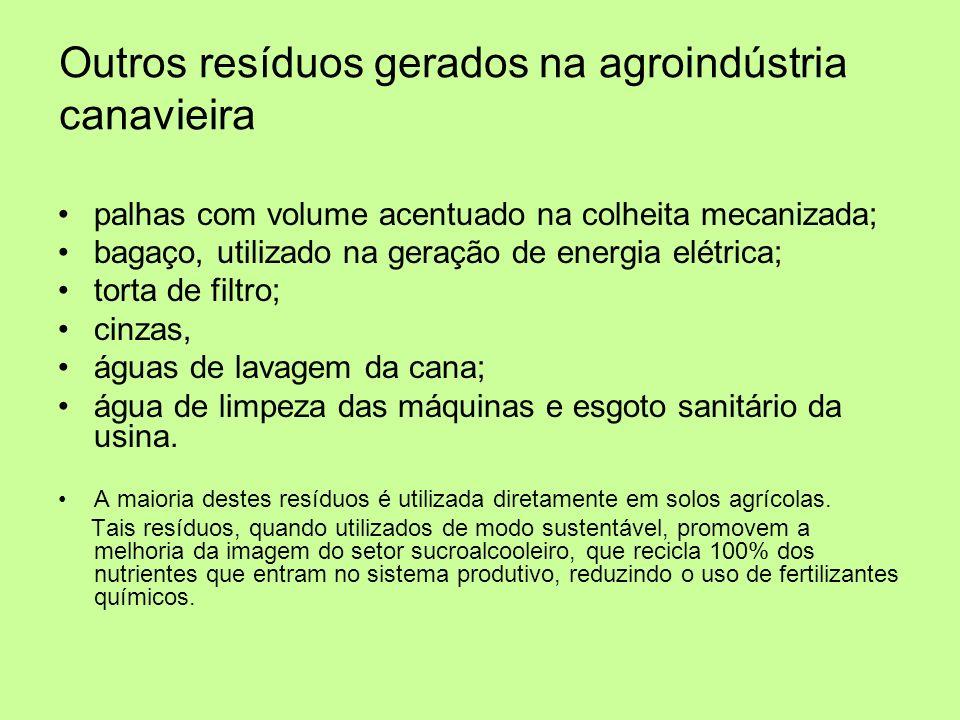 Outros resíduos gerados na agroindústria canavieira palhas com volume acentuado na colheita mecanizada; bagaço, utilizado na geração de energia elétri