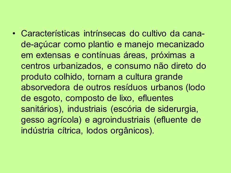 Características intrínsecas do cultivo da cana- de-açúcar como plantio e manejo mecanizado em extensas e contínuas áreas, próximas a centros urbanizad