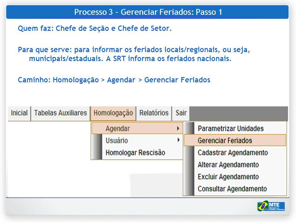 Processo 3 – Gerenciar Feriados: Passo 1 Quem faz: Chefe de Seção e Chefe de Setor. Para que serve: para informar os feriados locais/regionais, ou sej