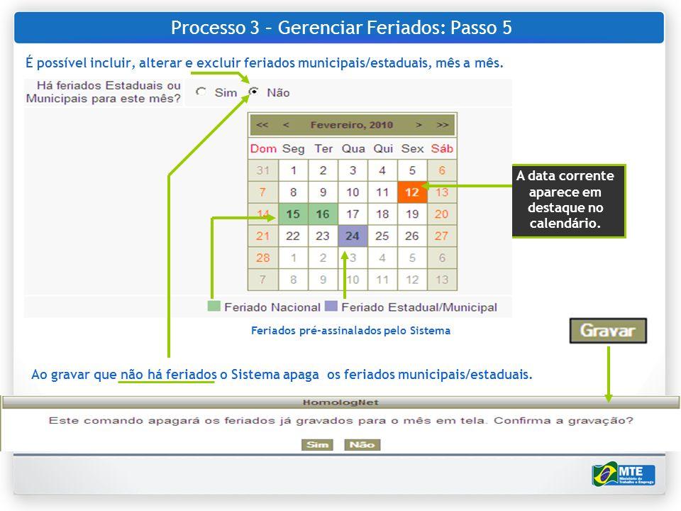 Processo 3 – Gerenciar Feriados: Passo 5 É possível incluir, alterar e excluir feriados municipais/estaduais, mês a mês. Ao gravar que não há feriados