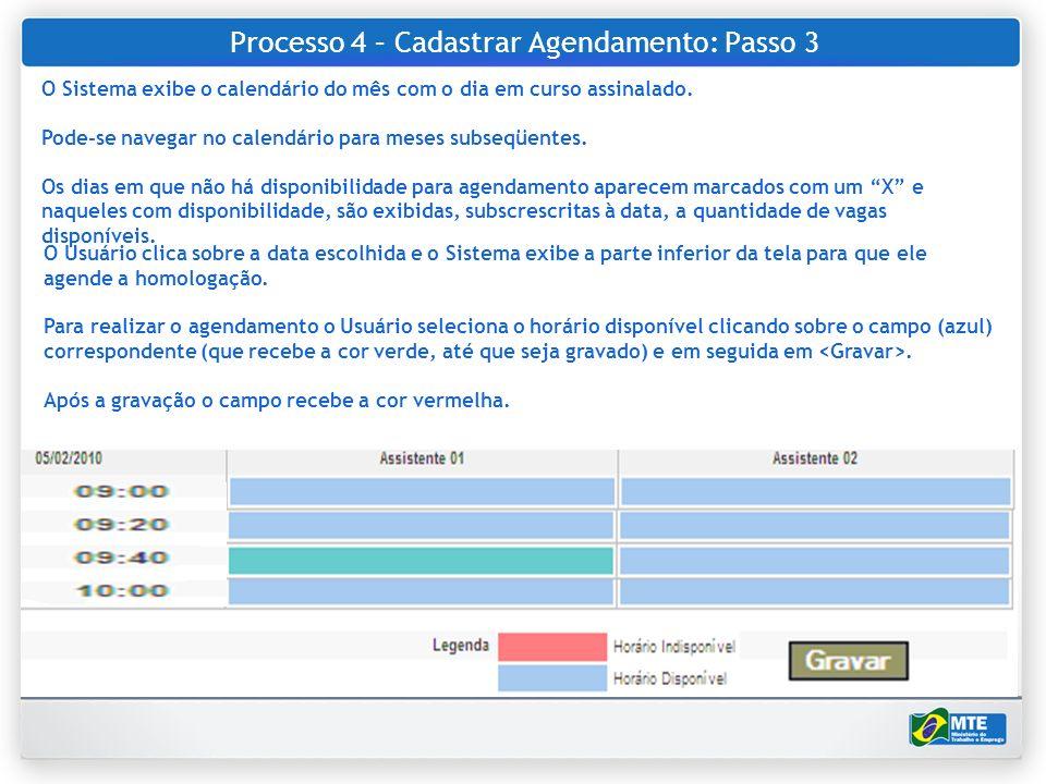 Processo 4 – Cadastrar Agendamento: Passo 3 O Usuário clica sobre a data escolhida e o Sistema exibe a parte inferior da tela para que ele agende a ho