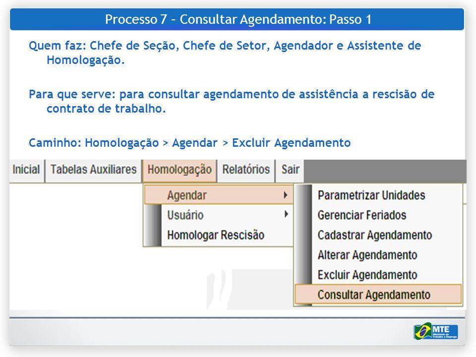 Processo 7 – Consultar Agendamento: Passo 1 Quem faz: Chefe de Seção, Chefe de Setor, Agendador e Assistente de Homologação. Para que serve: para cons