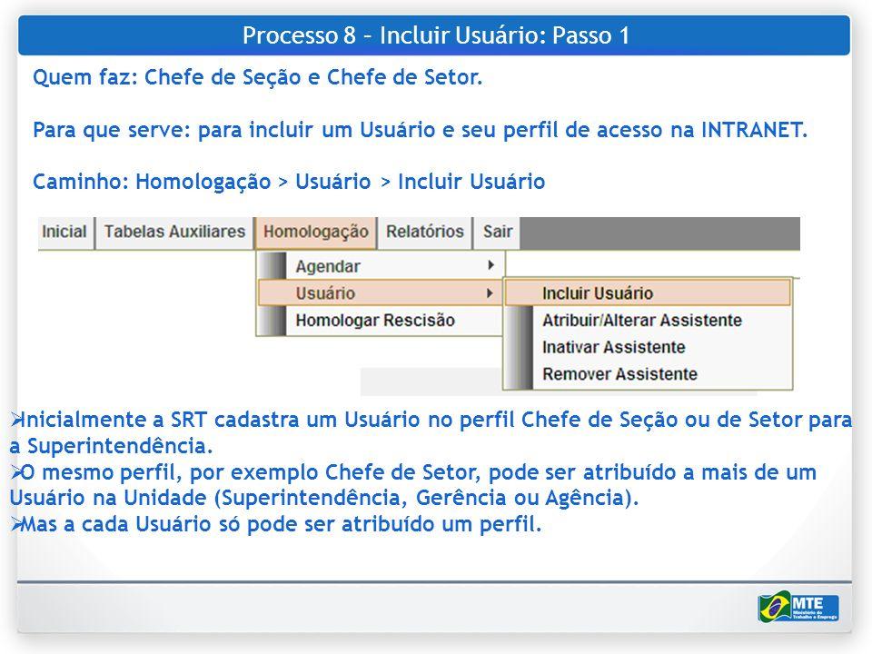 Processo 8 – Incluir Usuário: Passo 1 Quem faz: Chefe de Seção e Chefe de Setor. Para que serve: para incluir um Usuário e seu perfil de acesso na INT