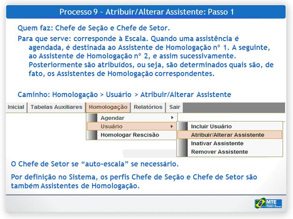 Processo 9 – Atribuir/Alterar Assistente: Passo 1 Quem faz: Chefe de Seção e Chefe de Setor. Para que serve: corresponde à Escala. Quando uma assistên