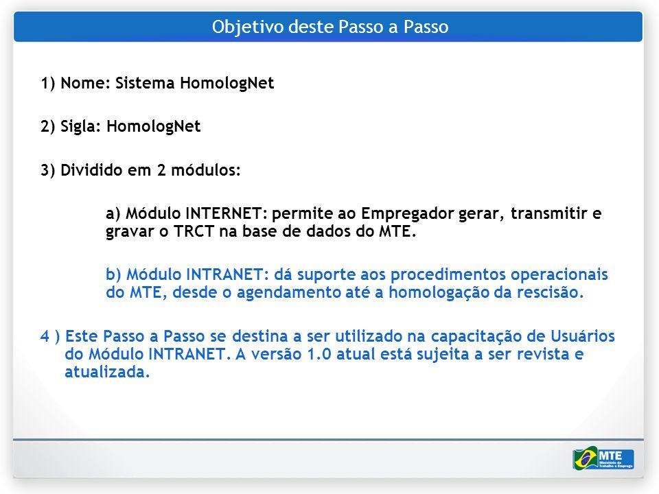 Objetivo deste Passo a Passo 1) Nome: Sistema HomologNet 2) Sigla: HomologNet 3) Dividido em 2 módulos: a) Módulo INTERNET: permite ao Empregador gera