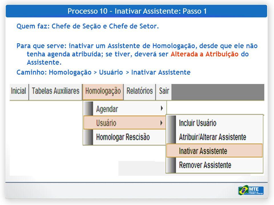 Processo 10 – Inativar Assistente: Passo 1 Quem faz: Chefe de Seção e Chefe de Setor. Para que serve: inativar um Assistente de Homologação, desde que