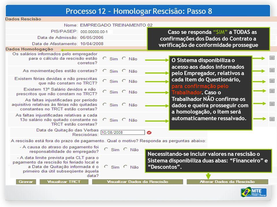 Processo 12 – Homologar Rescisão: Passo 8 Caso se responda SIM a TODAS as confirmações dos Dados do Contrato a verificação de conformidade prossegue O