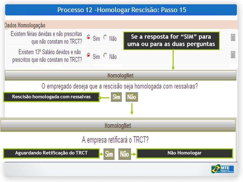 Processo 12 –Homologar Rescisão: Passo 15 Se a resposta for SIM para uma ou para as duas perguntas Rescisão homologada com ressalvas Aguardando Retifi