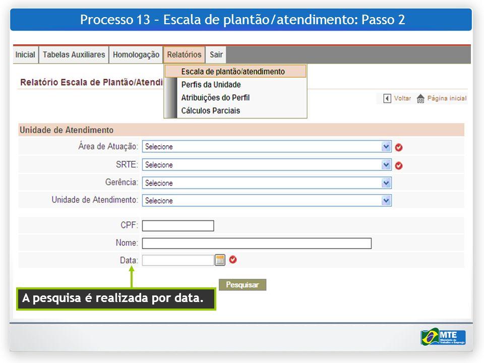 Processo 13 – Escala de plantão/atendimento: Passo 2 A pesquisa é realizada por data.