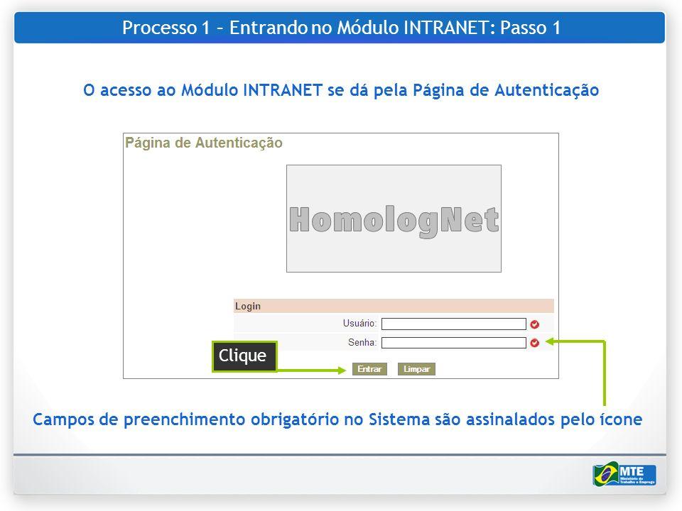 Processo 1 – Entrando no Módulo INTRANET: Passo 1 O acesso ao Módulo INTRANET se dá pela Página de Autenticação Campos de preenchimento obrigatório no