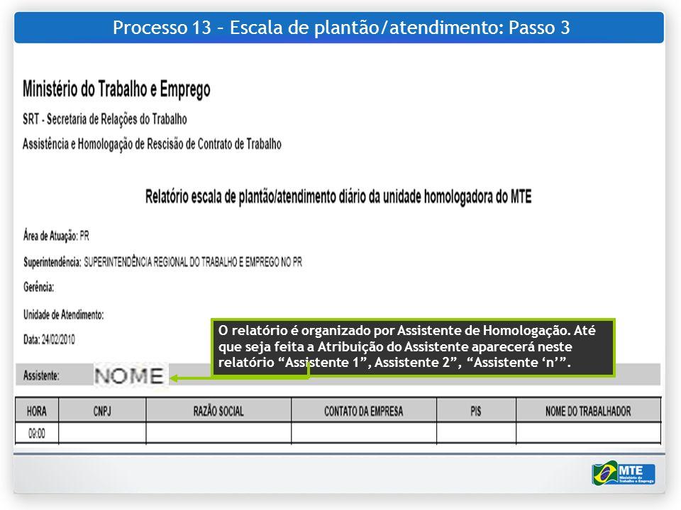 Processo 13 – Escala de plantão/atendimento: Passo 3 O relatório é organizado por Assistente de Homologação. Até que seja feita a Atribuição do Assist