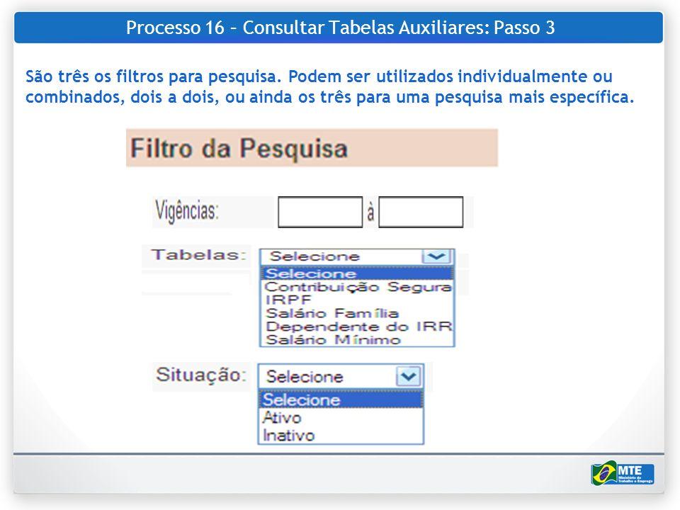 Processo 16 – Consultar Tabelas Auxiliares: Passo 3 São três os filtros para pesquisa. Podem ser utilizados individualmente ou combinados, dois a dois